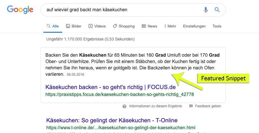 Screenshot Featured Snippet Frage auf Google